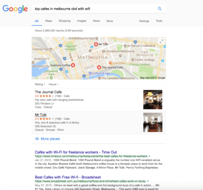 Example internet search of Melbourne cafes from generation Z customer