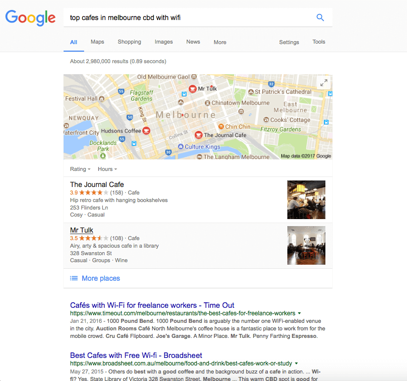 Example new buyer's journey search of Melbourne cafes